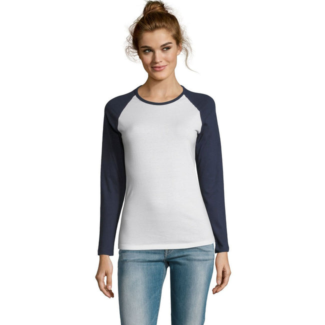 White-French Navy - Back - SOLS Womens-Ladies Milky Contrast Long Sleeve T-Shirt