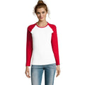 White-Burgundy - Back - SOLS Womens-Ladies Milky Contrast Long Sleeve T-Shirt
