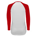 White-Burgundy - Side - SOLS Womens-Ladies Milky Contrast Long Sleeve T-Shirt