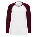 White-Deep Black - Front - SOLS Womens-Ladies Milky Contrast Long Sleeve T-Shirt