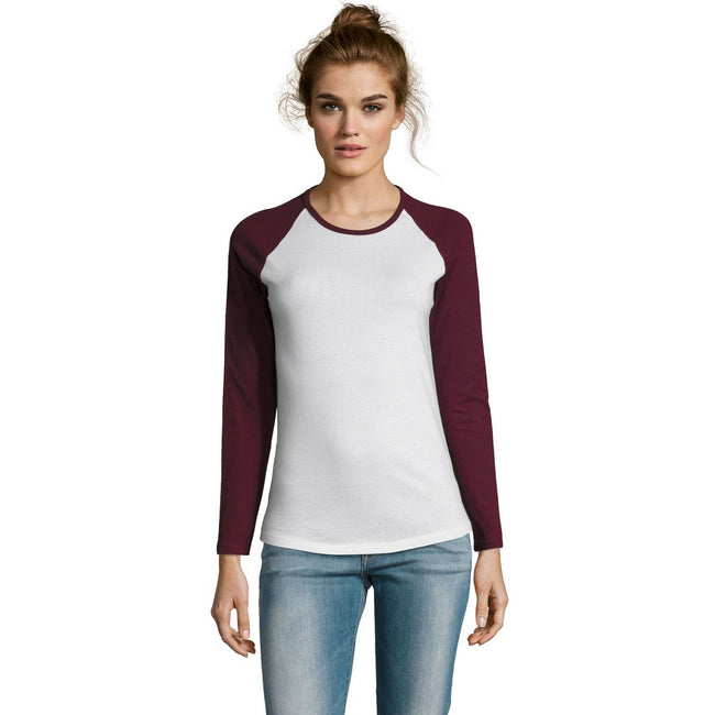 White-Deep Black - Back - SOLS Womens-Ladies Milky Contrast Long Sleeve T-Shirt
