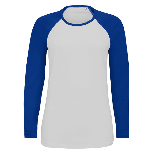 White-Red - Front - SOLS Womens-Ladies Milky Contrast Long Sleeve T-Shirt