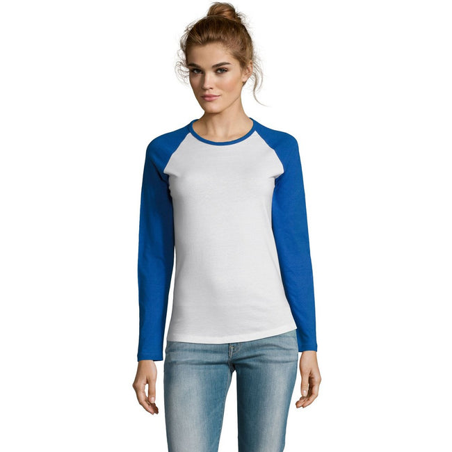 White-Red - Back - SOLS Womens-Ladies Milky Contrast Long Sleeve T-Shirt