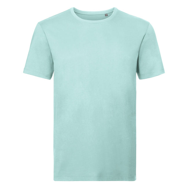 Aqua - Front - Russell Mens Authentic Pure Organic T-Shirt