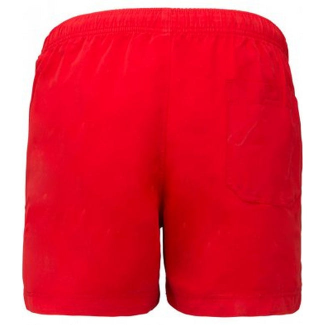Sporty Red - Back - Proact Adults Unisex Swimming Shorts