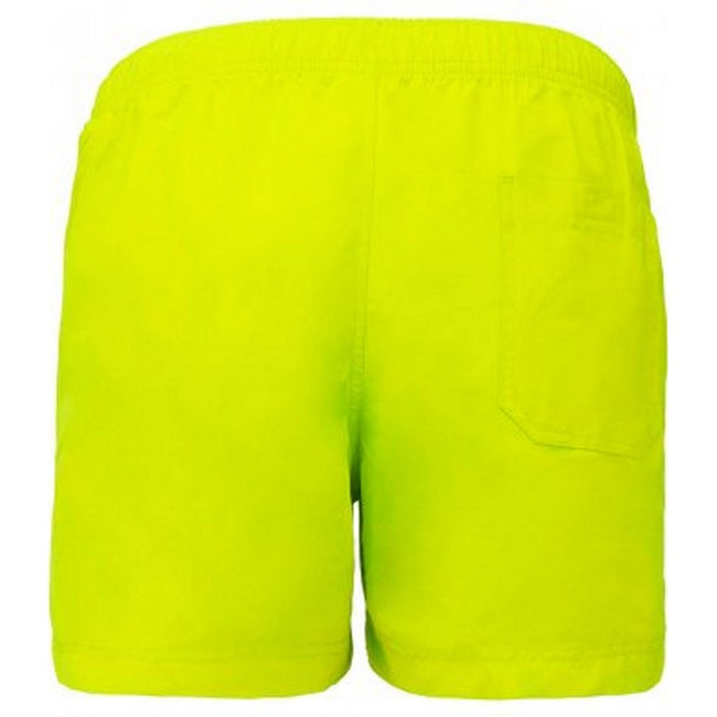Fluorescent Yellow - Back - Proact Adults Unisex Swimming Shorts