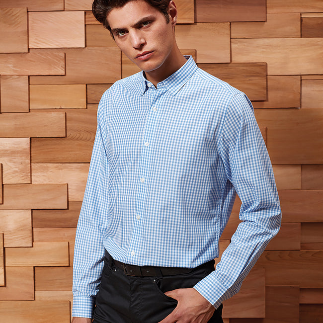 Silver-White - Front - Premier Mens Maxton Check Long Sleeve Shirt