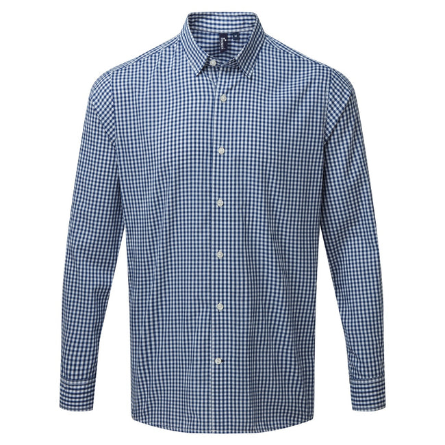 Navy-White - Front - Premier Mens Maxton Check Long Sleeve Shirt