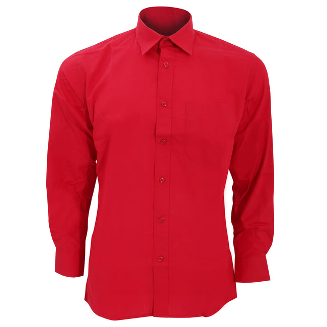 Flamenco Red - Front - SOLS Mens Bradford Long Sleeve Poplin Work Shirt