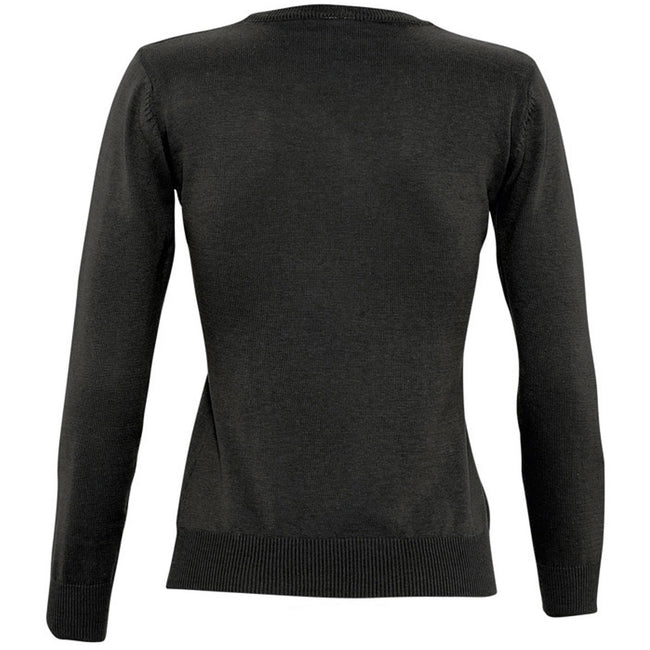 Black - Back - SOLS Womens-Ladies Galaxy V Neck Sweater