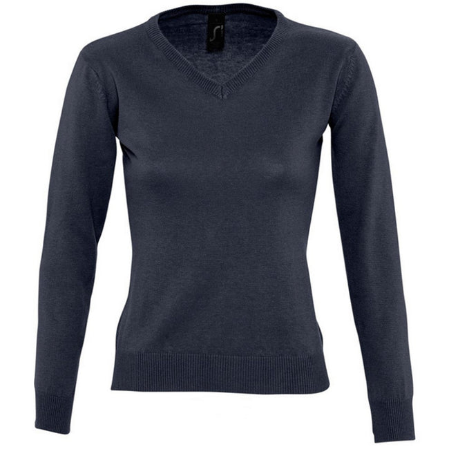 Red - Side - SOLS Womens-Ladies Galaxy V Neck Sweater