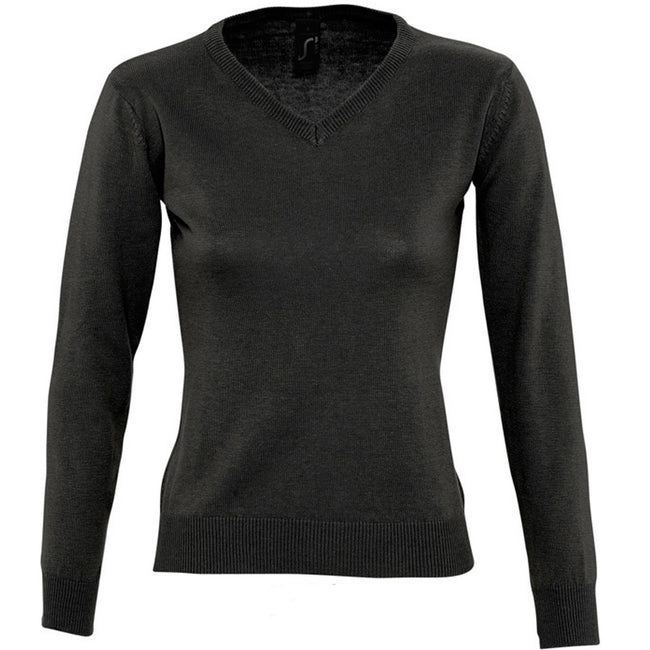 Black - Front - SOLS Womens-Ladies Galaxy V Neck Sweater