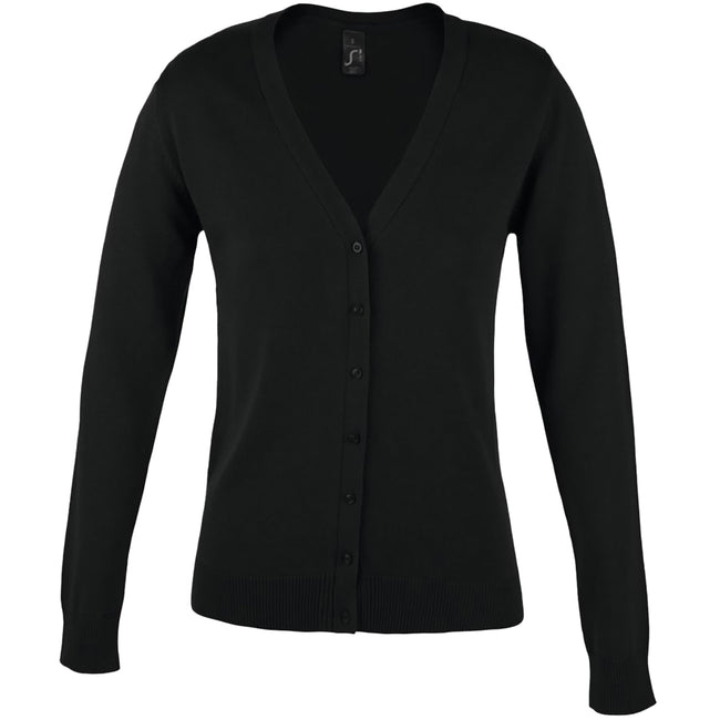 Black - Front - SOLS Womens-Ladies Golden V Neck Cardigan