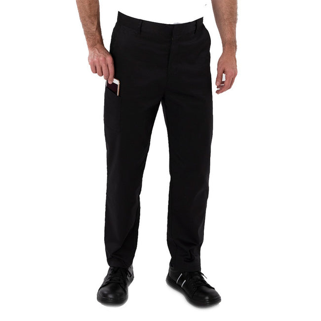 Black - Front - AFD Mens Slim Fit Stretch Pants