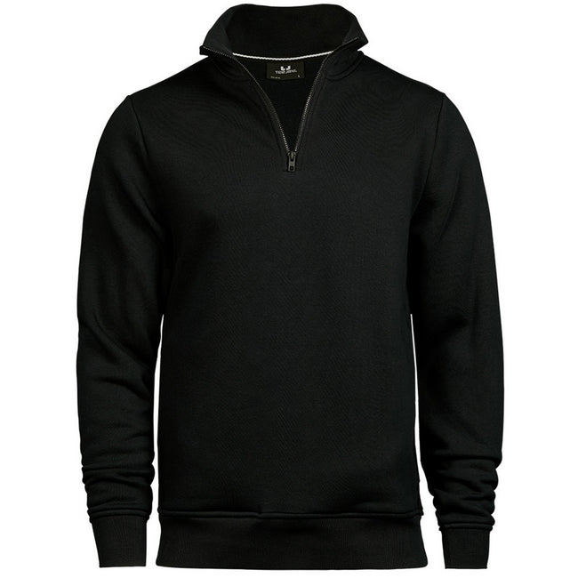 Black - Front - Tee Jays Mens Half Zip Sweatshirt