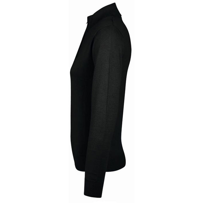 Black - Side - SOLS Womens-Ladies Gordon Full Zip Cardigan