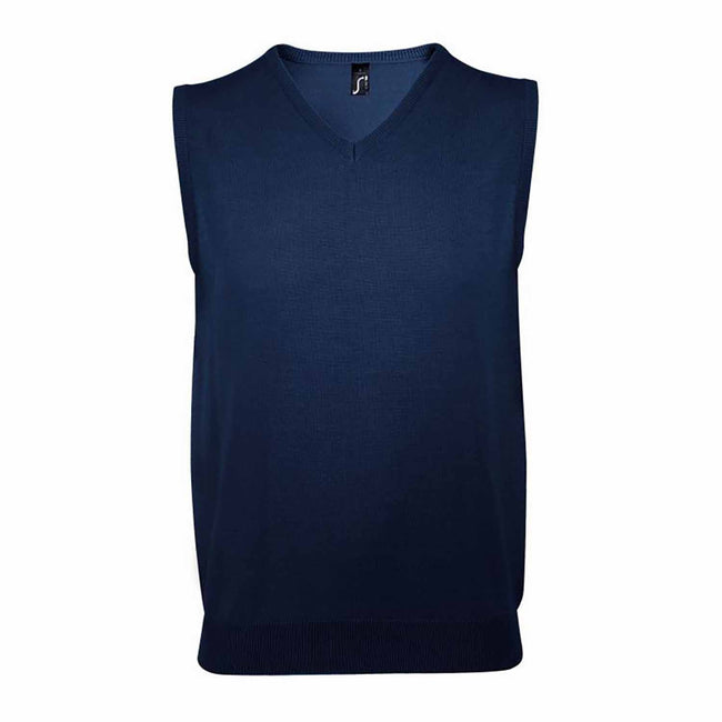 Navy - Front - SOLS Unisex Gentlemen Sleeveless V Neck Sweater Vest