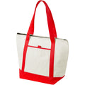 Natural,Red - Front - Bullet Lighthouse Non Woven Cooler Tote