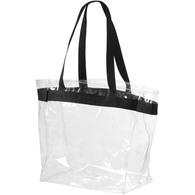 Transparent Clear, Solid Black - Front - Bullet Hampton Tote