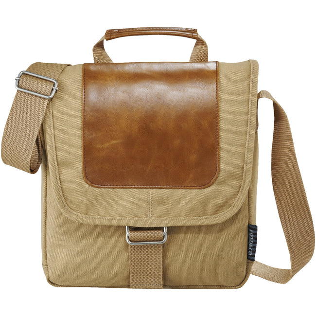 Beige - Front - Field & Co. Cambridge Tablet Messenger Bag