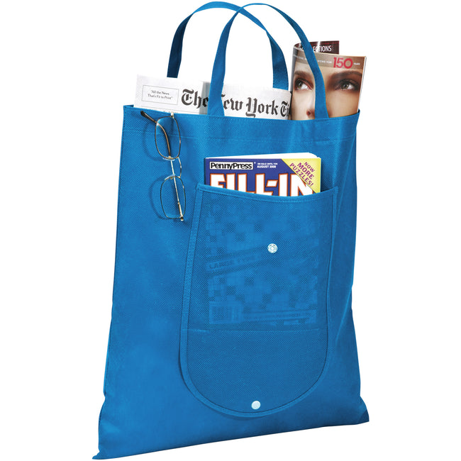 Process Blue - Back - Bullet Maple Foldable Non-Woven Tote