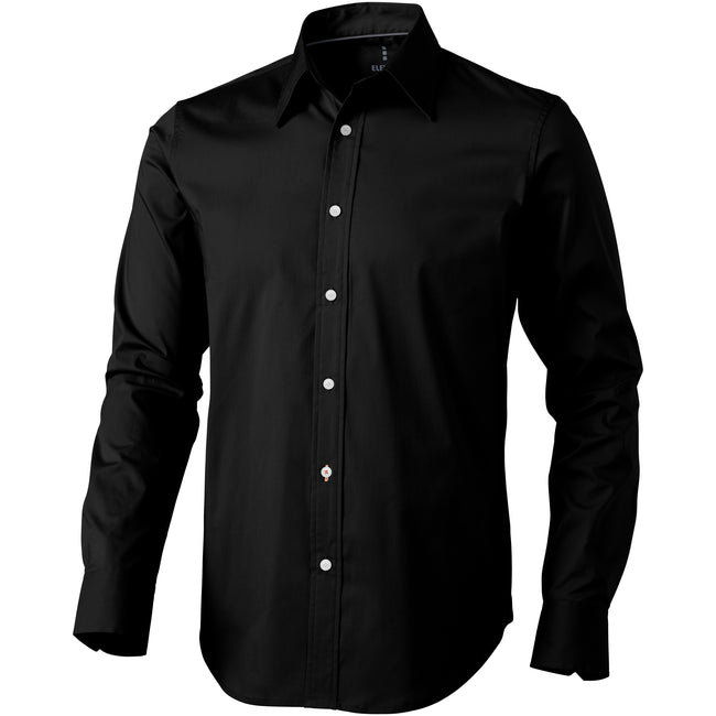 Solid Black - Front - Elevate Hamilton Long Sleeve Shirt