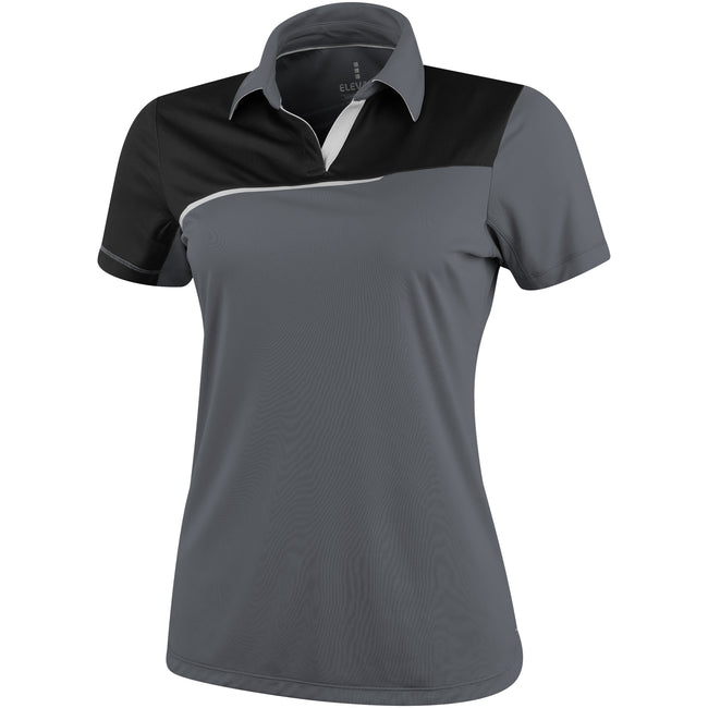 Steel Gray-Solid Black - Front - Elevate Womens-Ladies Prater Short Sleeve Ladies Polo