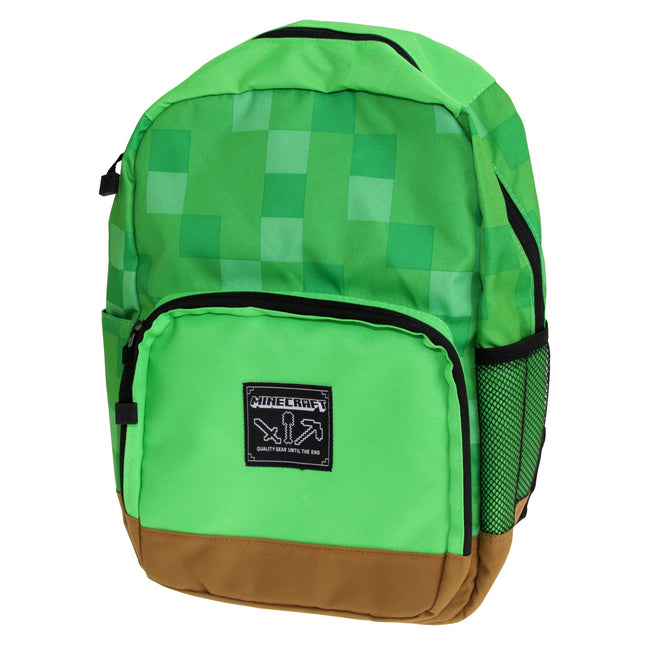 Green - Front - Minecraft Official Childrens-Kids Shelter Green Backpack