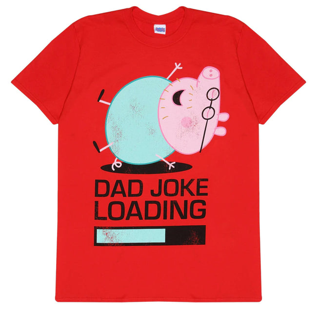 Red - Front - Peppa Pig Official Adults Unisex Daddy Pig Joke Loading T-Shirt