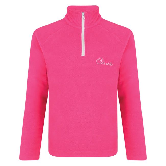 Cyber Pink - Front - Dare 2B Kids Freeze Jam II Half Zip Fleece Top