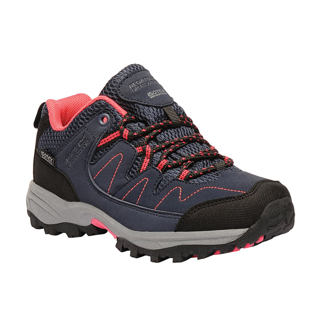 Navy-Blush - Front - Regatta Great Outdoors Childrens-Kids Holscombe Lace Up Waterproof Walking Shoes