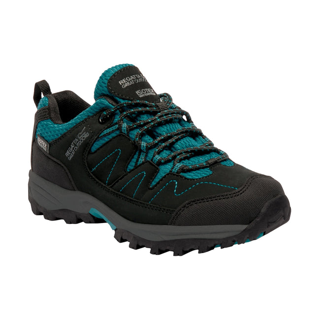 Black-Deep Lake - Front - Regatta Great Outdoors Childrens-Kids Holscombe Lace Up Waterproof Walking Shoes