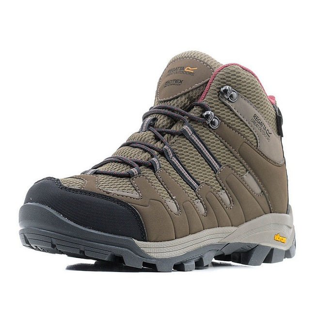 Walnut-Deco Rose - Side - Regatta Great Outdoors Womens-Ladies Lady Burrell Lace Up Hiking Boot
