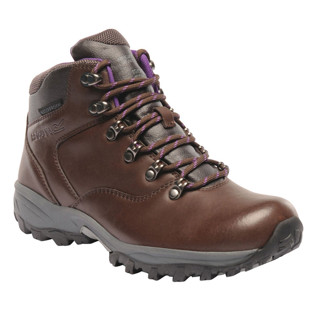 Chestnut-Alpine Purple - Front - Regatta Great Outdoors Womens-Ladies Bainsford Waterproof Hiking Boots