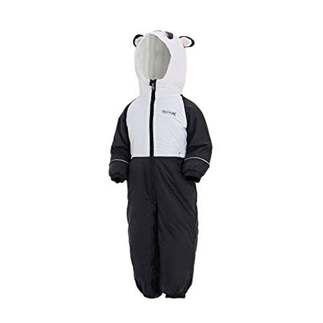 Black-White - Front - Regatta Childrens-Kids Mudplay III Hooded Rainsuit