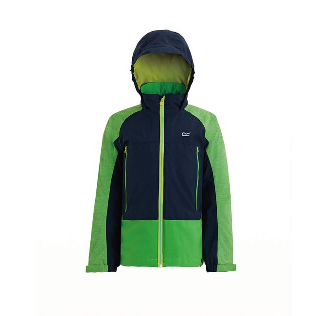 Fairway Green-Navy - Front - Regatta Childrens-Kids Hydrate III 3 In 1 Hooded Jacket