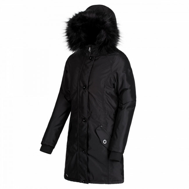 Jet Black - Front - Regatta Womens-Ladies Saffira Full Length Hooded Jacket
