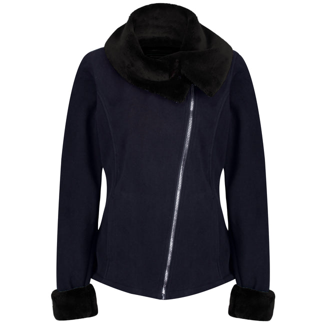 Navy-Black - Front - Regatta Womens-Ladies Balencia Faux Fur Collar Fleece Jacket