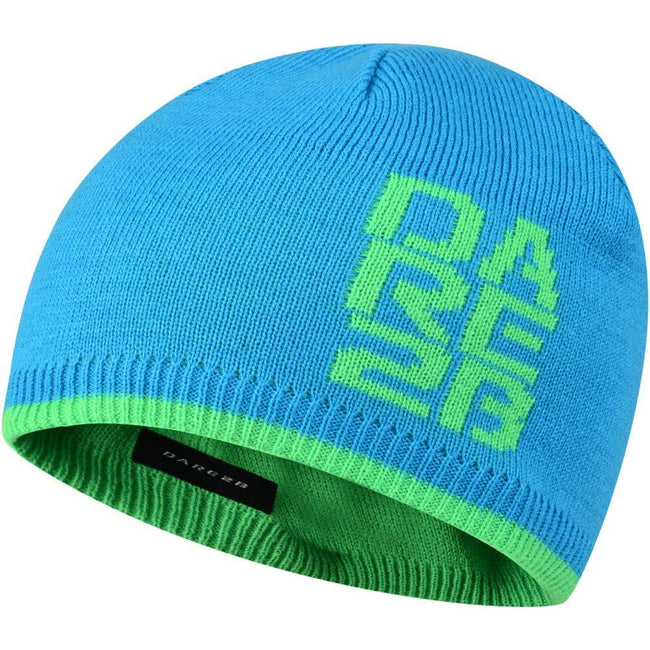 Fluro Blue - Front - Dare 2B Kids-Childrens Thick Cuff Reversible Beanie Hat