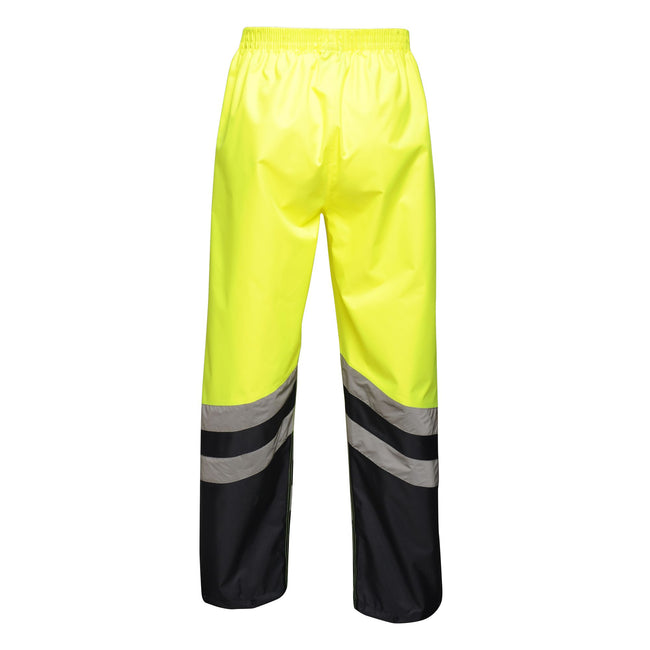Yellow-Navy - Back - Regatta Unisex Hi Vis Pro Reflective Work Over Trousers