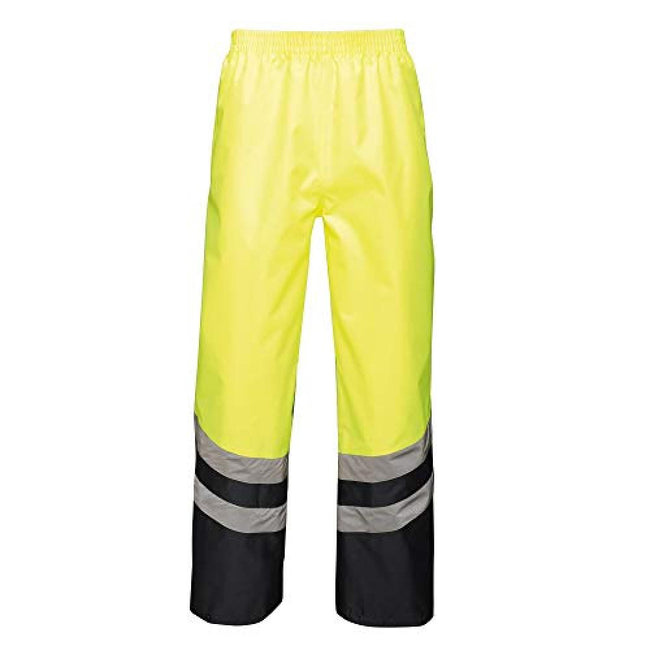 Yellow-Navy - Front - Regatta Unisex Hi Vis Pro Reflective Work Over Trousers