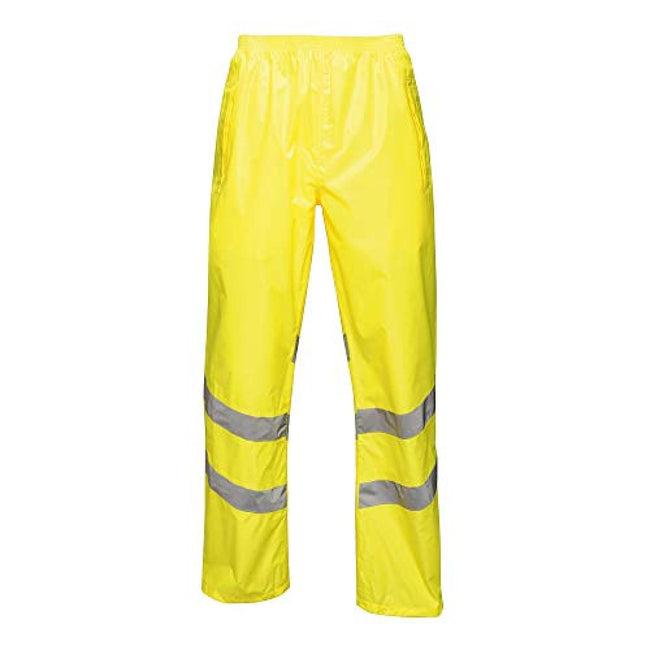 Yellow - Front - Regatta Unisex Hi Vis Pro Reflective Packaway Work Over Trousers