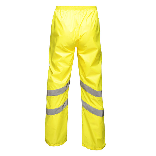 Yellow - Back - Regatta Unisex Hi Vis Pro Reflective Packaway Work Over Trousers