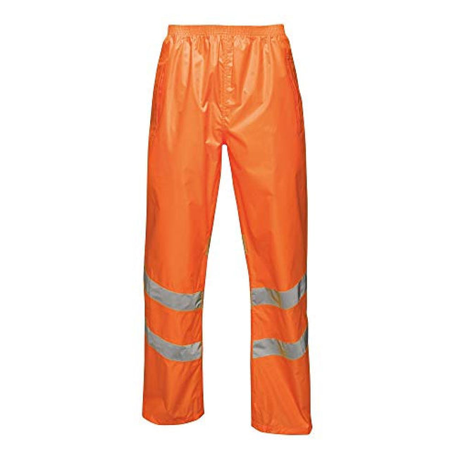Orange - Front - Regatta Unisex Hi Vis Pro Reflective Packaway Work Over Trousers