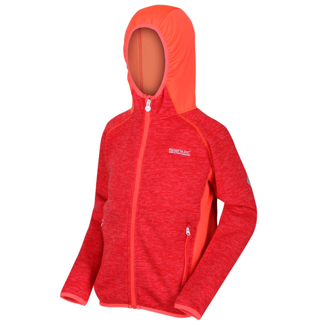 Coral Blue-Fiery Coral - Front - Regatta Childrens-Kids Dissolver II Hooded Fleece