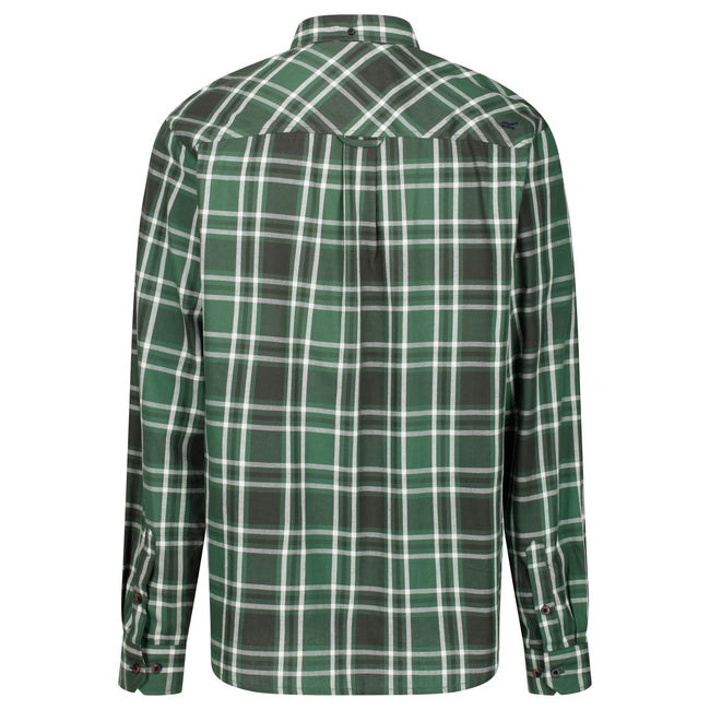 Burnt Umber-Black - Front - Regatta Great Outdoors Mens Lazare Long Sleeve Checked Shirt