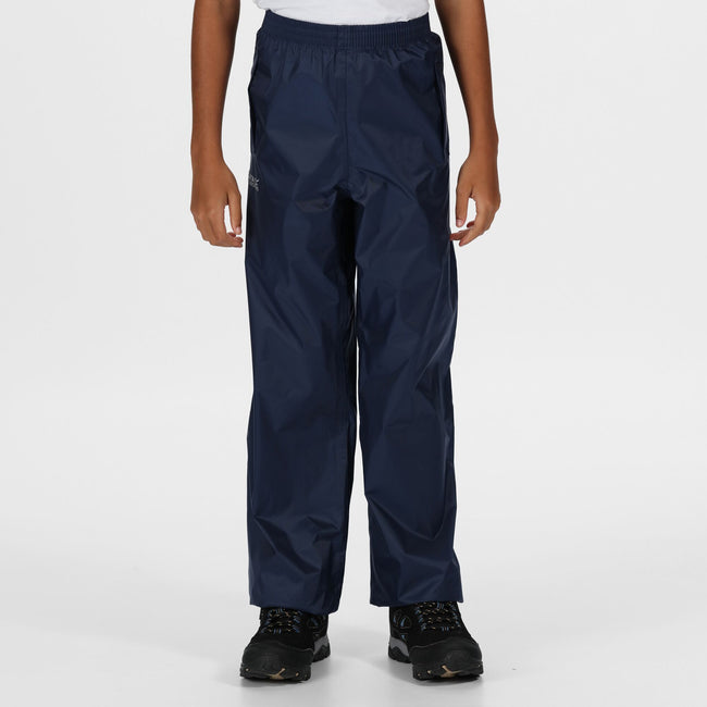 Midnight - Side - Regatta Great Outdoors Kids Boys Adventure Tech Pack It Waterproof Overtrousers