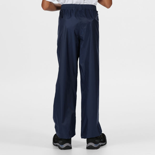 Black - Front - Regatta Great Outdoors Kids Boys Adventure Tech Pack It Waterproof Overtrousers