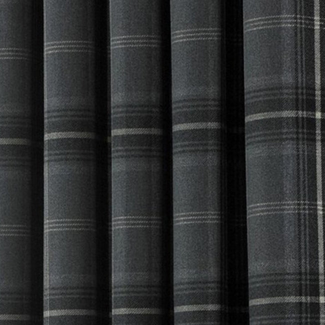 Natural - Front - Riva Home Aviemore Checked Pattern Ringtop Curtains-Drapes