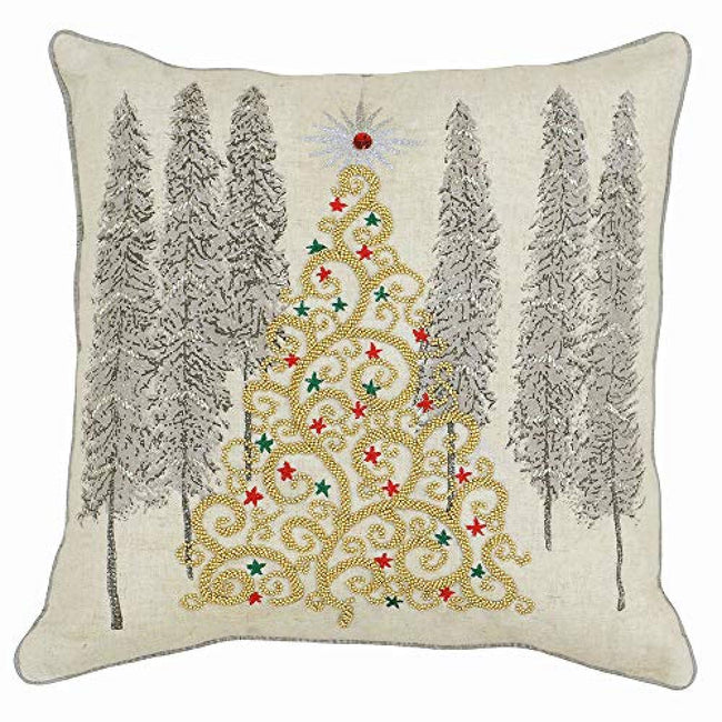 Cream - Front - Riva Paoletti Advent Gold Christmas Tree Cushion Cover